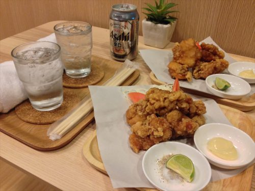 唐揚げ(単品)×2とアサヒビール