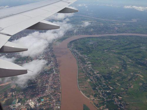 上空から見たメコン川-搭乗記-エアアジア-タイ・バンコクからラオス・ビエンチャン-直行便